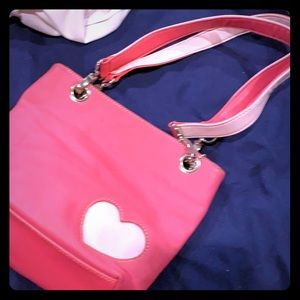 Leather pink girls  purse. Dark and light pink